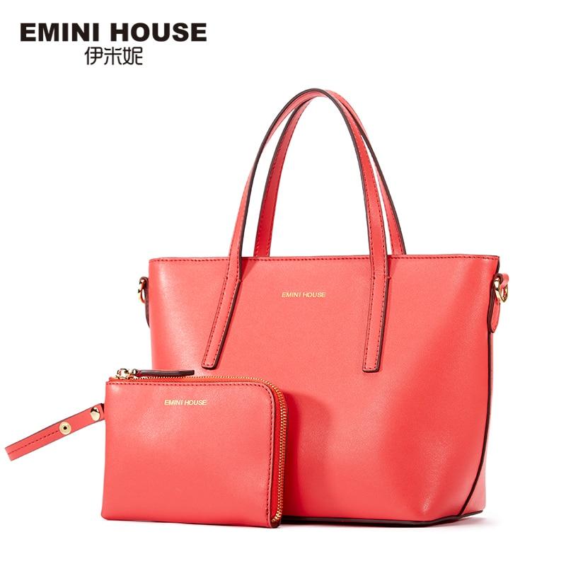 EMINI HOUSE Tote Composite Bag Split Leather Shoulder Women Messenger Bags Ladies Leather Handbags Crossbody Bags For Women p p x split leather composite bag