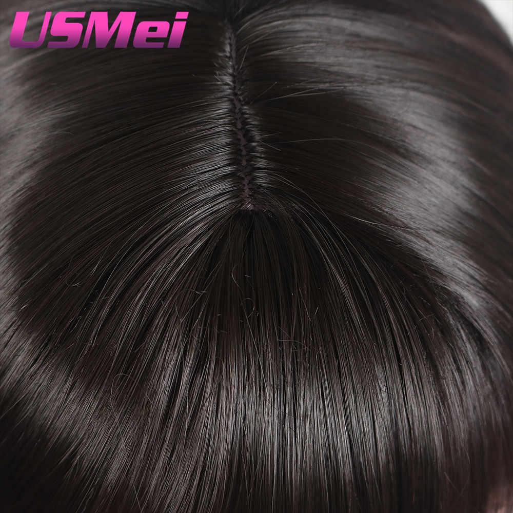 USMEI 22 дюйма шелковистая прямая черная, женская, для волос парики Omber цвет синтетический парик с длинными волосами термостойкие волокна волос Аккуратные челки