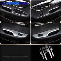Litanglee Car Door Inner Handle Decoration Panel Decoration Car Door Armrest For Cadillac ATS-L Silver Stainless Steel