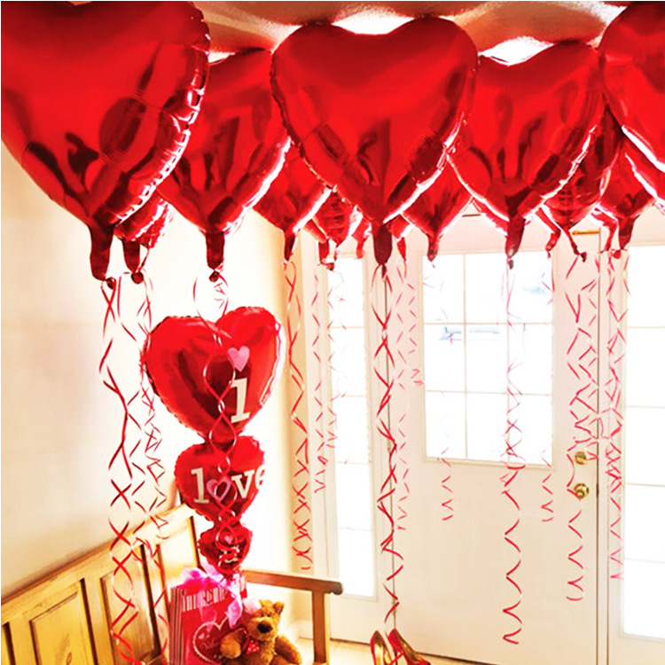 18inch Heart-shaped Monochrome Aluminum Film Foil Balloon Wedding Background Decoration Balloons Festive Party Supplies