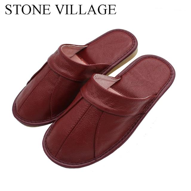אבן כפר פרה עור קיץ סנדלי נשים בית זוג נעלי גברים קיץ בית רצפת פנים החלקה נעלי גודל 35 44