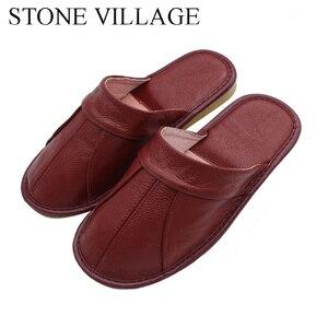 Image 1 - 石村牛革革夏のサンダルの女性カップルの家の靴男性の夏の家の床ノンスリップ靴のサイズ35 44