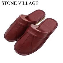 Pedra aldeia couro de couro sandálias de verão mulher casal casa sapatos homens verão casa interior chão antiderrapante sapatos tamanho 35 44