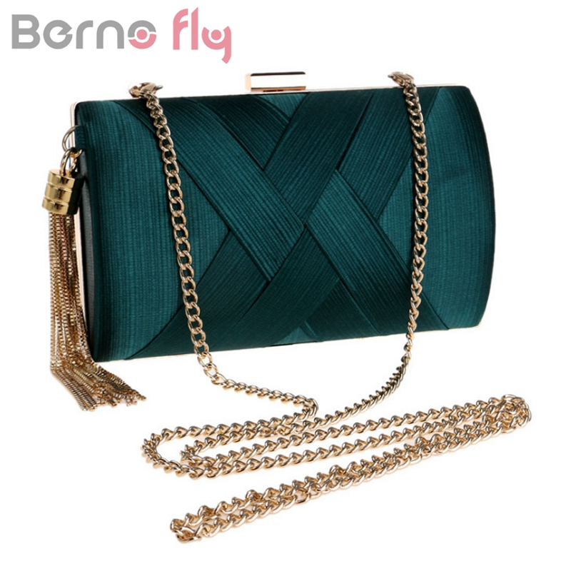 Berno fly 2019 New Metal Tassels Lady Clutch Bag With Chain Shoulder Handbags Classical Satin Small Purse Day Evening Clutch Bag