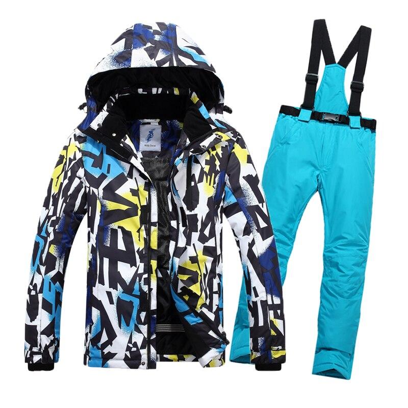 Combinaison de Ski d'hiver hommes Ski de neige mâle vêtements ensemble extérieur thermique imperméable veste pour hommes combinaison de Ski ensemble hommes veste de Snowboard