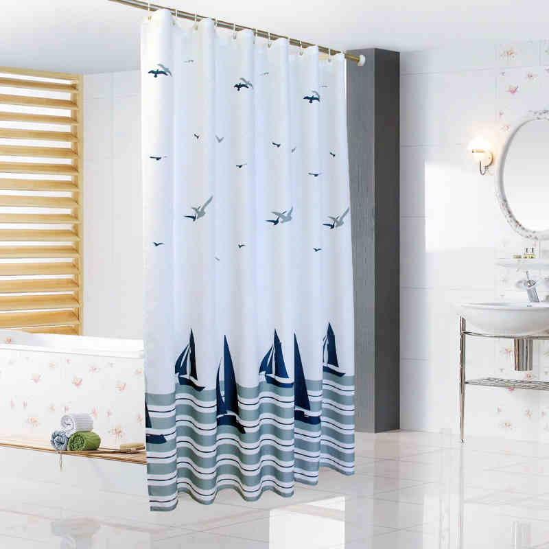 Bathroom Polyester Fabric Print Sailboat Style Shower Curtains Liner  Waterproof Washable Bath Curtains(China (