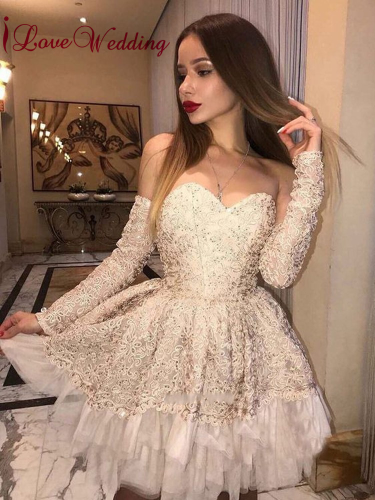iLoveWedding New Arrival 2019 Robe   cocktail   Sweetheart Ball Gown   Cocktail     Dress   Detachable Sleeves Mini Party Gown
