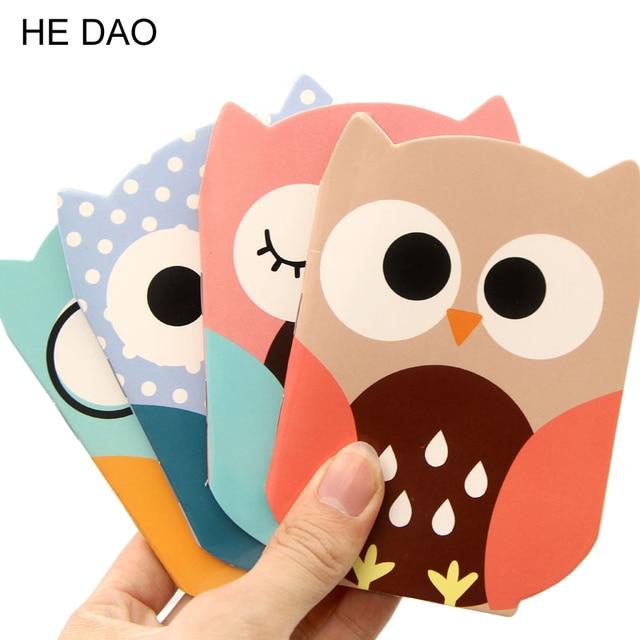 Novelty Owl Cartoon Animals Mini Notebook Diary Pocket Notepad Promotional Gift Stationery Fod