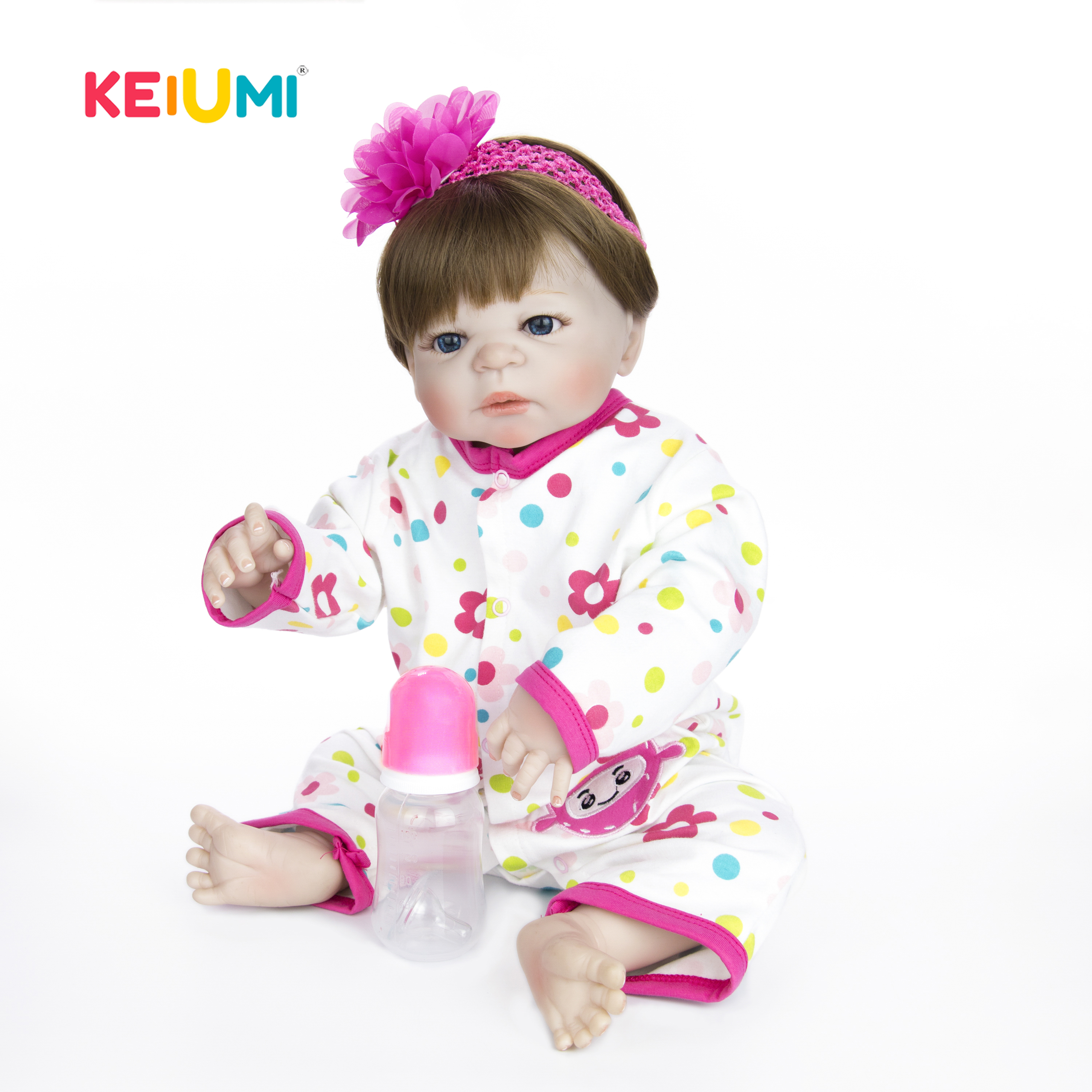 KEIUMI 23 inch White Skin Baby Dolls Newborn Lifelike Babies Full Silicone Vinyl Alive Doll Toy