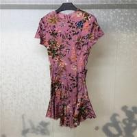 Women Summer Dress Elegant 2018 Short Sleeve Lady Party Print Dress Women Fashion Hollow Out Dress