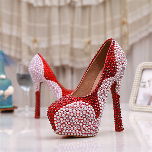 2017 high quality beaded Women Wedding Shoes High Heels Slip Crystal round toe Shoes Women Pumps for party jm1288 fashionable chiffon sleeveless women s dress green size l
