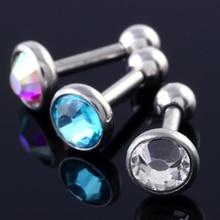 3pcs Steel Stud Earrings Body Piercing Jewelry For Women 16 Gauge 1/4″