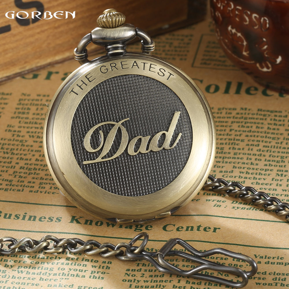 Unique New Bronze dad pocket watch necklace THE GREATEST Dad FOB Father Vintage Quartz Men Watches Luxury Gift Relogio De Bolso men s antique bronze retro vintage dad pocket watch quartz with chain gift promotion new arrivals
