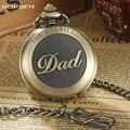 Unique New Bronze dad pocket watch necklace THE GREATEST Dad FOB Father Vintage Quartz Men Watches Luxury Gift Relogio De Bolso