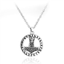 TOFOL Men Women Necklaces Antique Silver Plated Thor Hammer Pendant Necklace Fashion Jewelry