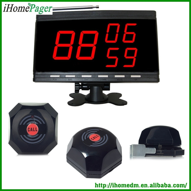 Service Paging System For Restaurant Sample System Of 5 Button and 1 Display Receiver