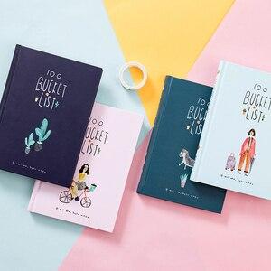 Image 1 - 2019 한국어 100 버킷 할 일 목록 위시리스트 카와이 귀여운 꽃 다채로운 박스형 일일 도우미 학교 사무용품 고정식 a5