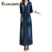 Новые джинсовые длинное платье Для женщин 2018 Весна плюс Размеры джинсовое платье посылка бедра джинсы платье тонкий v-образным вырезом Ковбойское платье Женский 5XL LS122