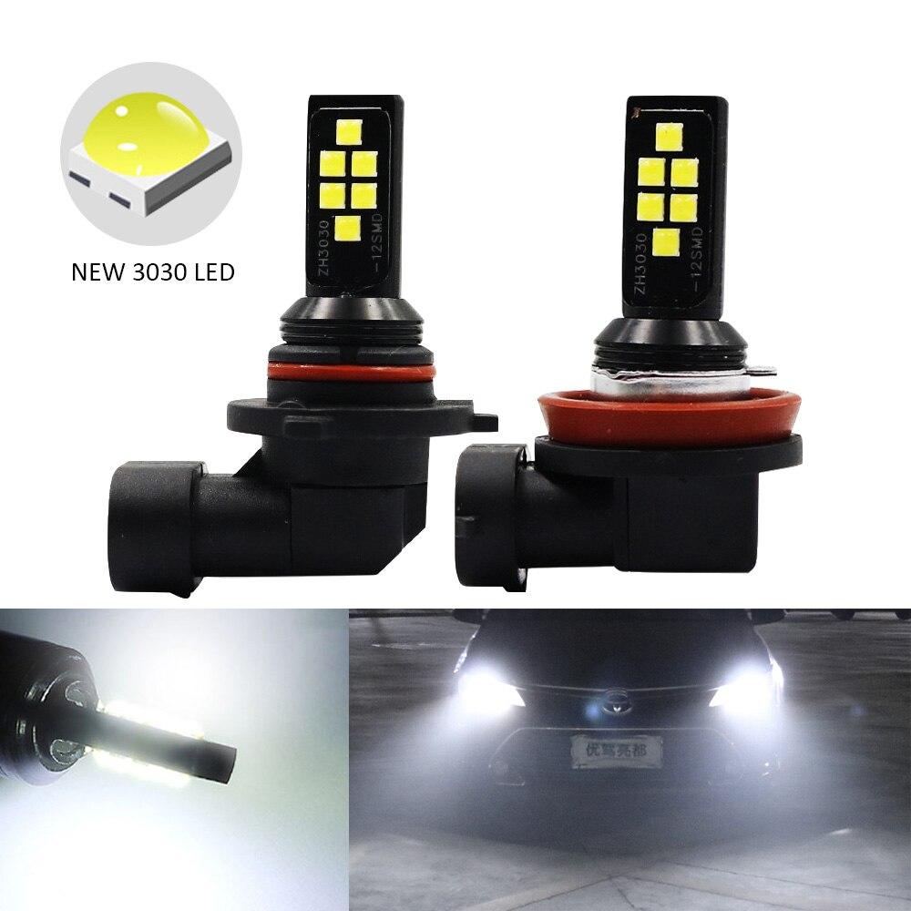 2 шт. H11 H8 HB4 9006 HB3 9005 Противотуманные фары 3030 чипы светодиодный фонарь DRL для вождения автомобиля ходовая лампа автоматические светодиоды светодиодный s Лампа Белый 12 ВАвтомобильная противотуманная фара    АлиЭкспресс