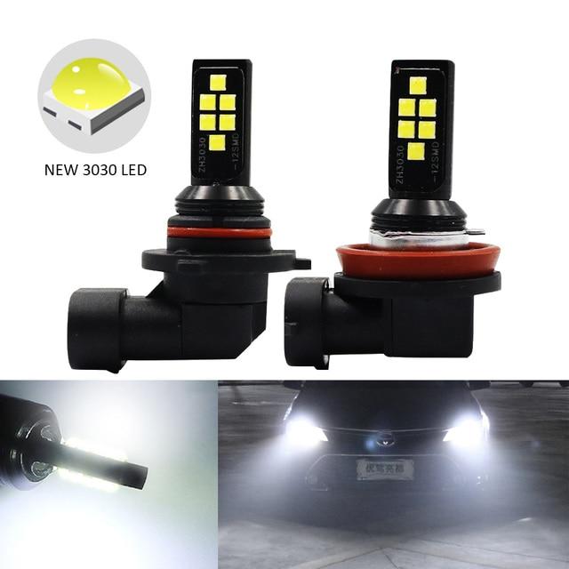 2 sztuk H11 H8 HB4 9006 HB3 9005 światła przeciwmgielne 3030 chipy LED lampa DRL jazdy samochodem reflektor do jazdy dziennej żarówki samochodowe LED żarówka biały 12V