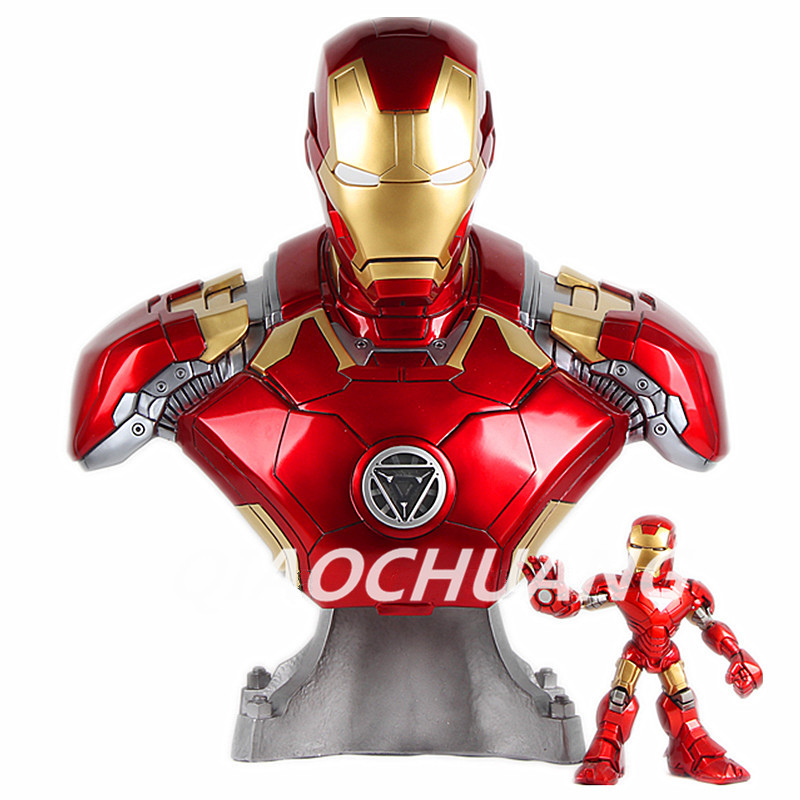 Statue Avengers Iron Man (LIFE SIZE) Bust Superhero MK43 1:1 Head Portrait Resin With LED Light Collectible Model Toy Boxed W127 statue avengers captain america 3 civil war iron man tony stark 1 2 bust mk33 half length photo or portrait with led light w216