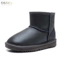 G&Zac Luxury Antiskid Warm Children Sheepskin Snow Boots Boys Girls Short Tube Sheep Waterproof Children's Winter Wool Shoes