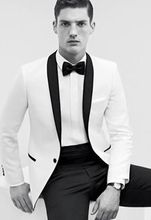 Classic Style One Button White Groom Tuxedos Groomsmen Men's Wedding Prom Suits Custom Made (Jacket+Pants+Girdle+Tie) K:372