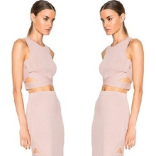 Promi Rosa Weiß Khaki 2 Stücke Knielangen Rayon Verband-kleid Cocktail Kleid
