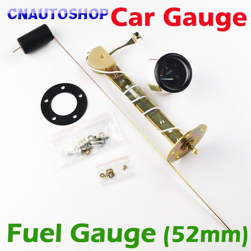 """Dragon Gauge 2"""" 52mm Fuel Gauge Car Meter With Fuel Sensor White Led Light Black Shell Automotive Gauges 12v"""