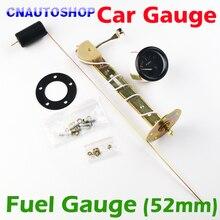 Dragon Gauge 2″ 52mm FUEL Gauge Car Meter with Fuel Sensor White LED Light Black Shell Automotive Gauges 12V