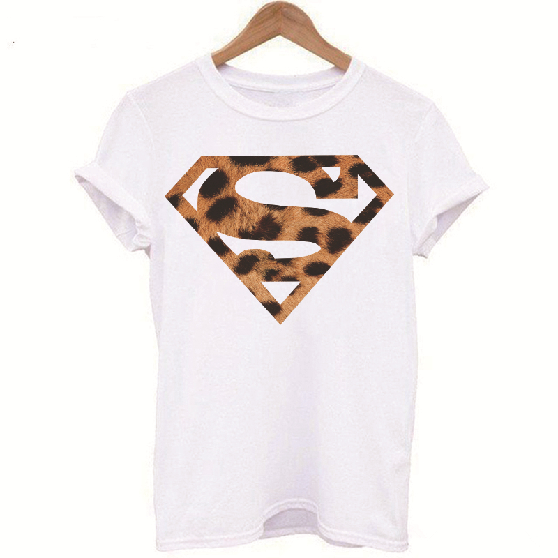 Luslos New Arrival Superman Printed T-shirts Women Summer Casual Short Sleeve Tops Leopard Pattern Female T Shirt Graphic Tees