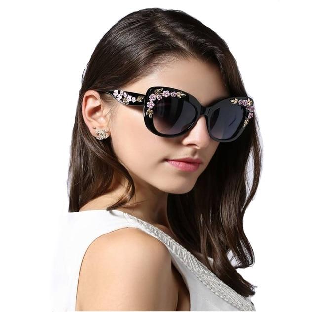 a3b0ae9df19 2018 Luxury Queen Cat Eye Sunglasses for Women Rose Flower Vintage Girls  Oculos De Sol Oversize