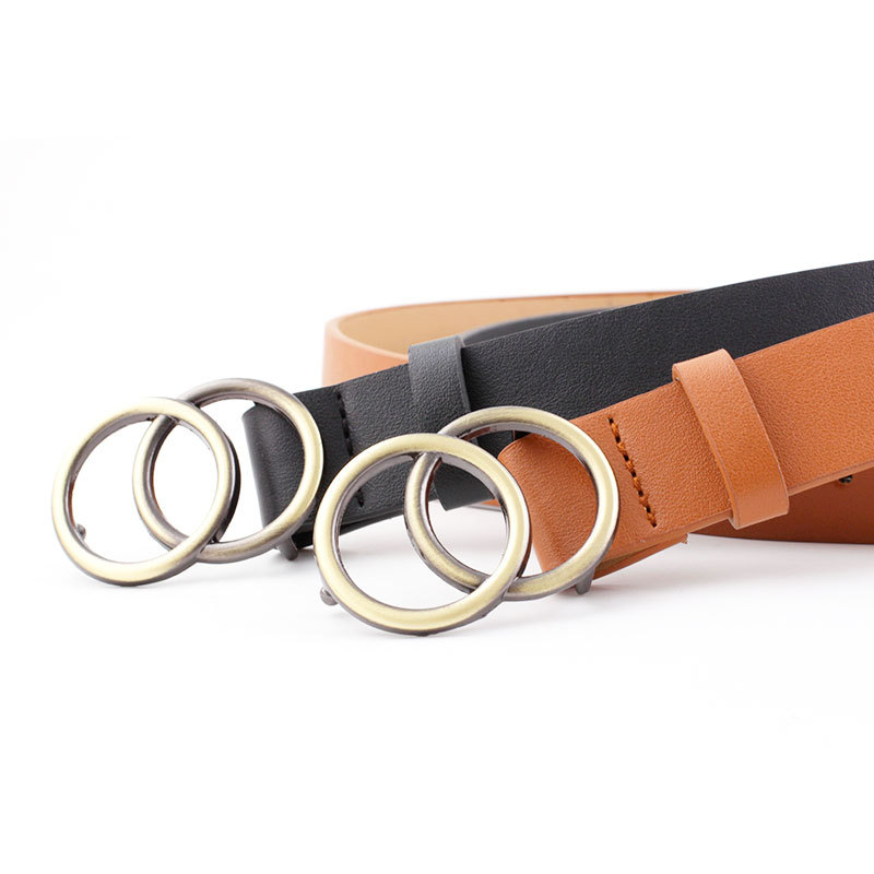 Soft imitation leather double ring buckle retro decoration casual tightening all matching light long women 39 s belt solid hole bel in Women 39 s Belts from Apparel Accessories