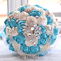 2017 Bridal Bridesmaid Wedding Bouquet Cheap New Luxury Crystal Blue&Ivory Handmade Artificial Rose Flower Bridal Bouquets
