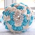 2017 dama de Honor Nupcial de La Boda Bouquet Barato Nuevo Lujo Cristal Azul y Marfil Hecho A Mano Artificial Rose Flores Ramos de Novia