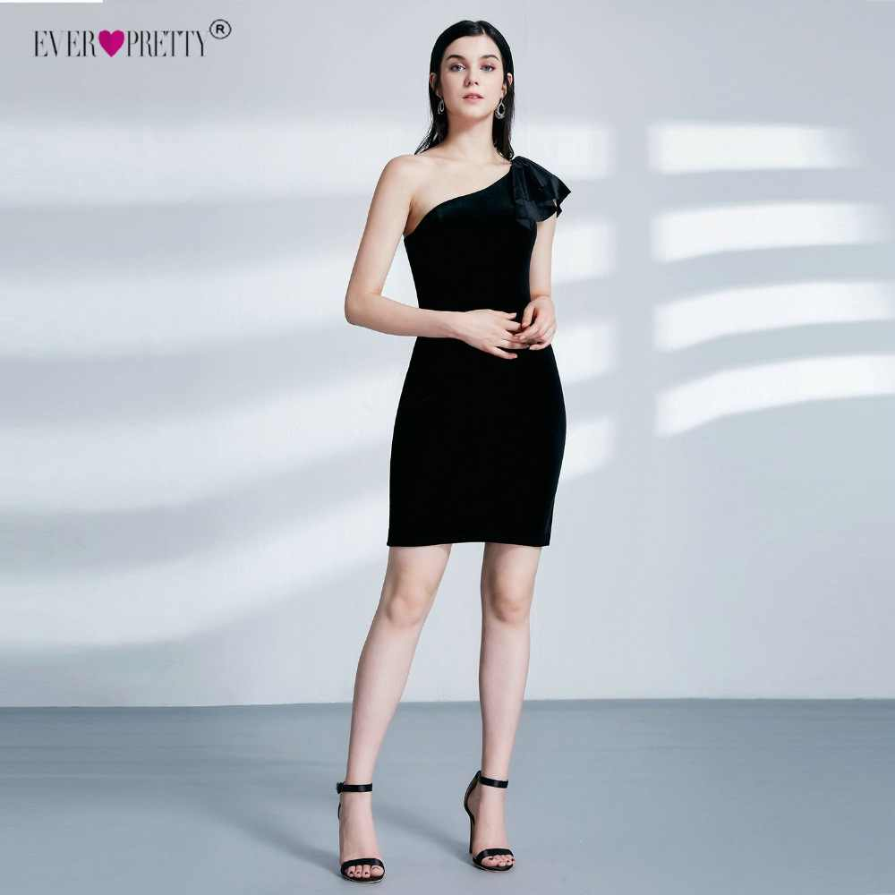 07120ef6cf0 ... Ever Pretty EP04091 New Arrival Sexy Black One Shoulder Velvet Evening  Dresses 2018 Short Fit Formal ...
