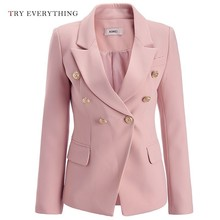 Pink Blazer Women Jacket 2019 Double Breasted White Jackte Plus Size Ladies Blazers And Jackets