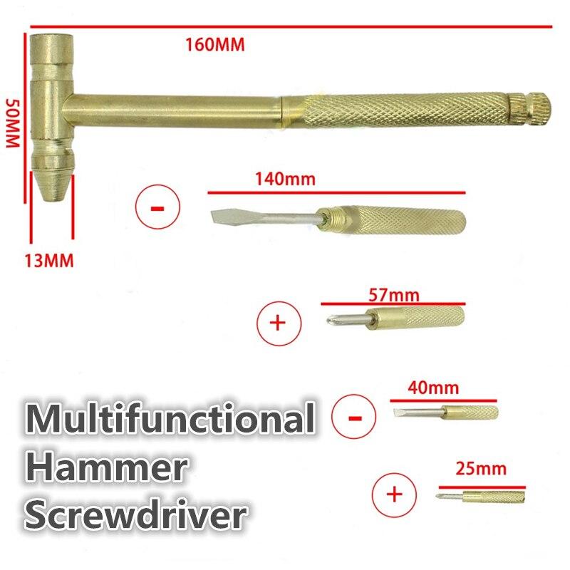 160mm Multifunctional Mini 6 In 1 Hammer Dismountable Slotted Cross Screwdriver Set Mini Nail Hammer Pocket Hand Tools