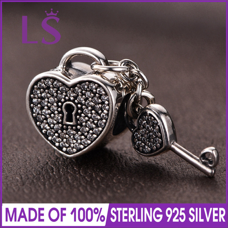 LS High Quality 100% Real 925 Sterling Silver Lock of Love Charm Bead Fit Original Bracelets Pulseira Encantos.100% Fine Jewlery