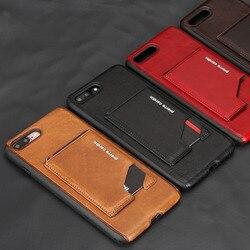 Pour Apple iPhone 7 7 Plus coque de téléphone Pierre Cardin étui en cuir véritable porte-cartes fin support Flip étui en cuir dur