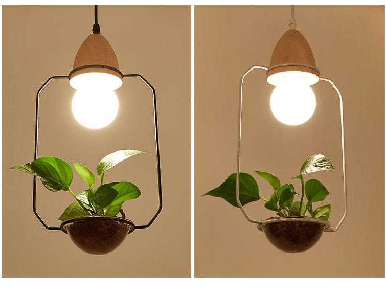 2 Pendant plant Light With Wood Base E27 Creative Rustic Pot Culture