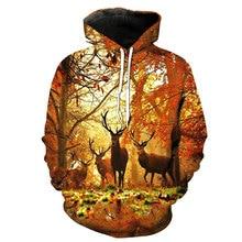 2018 nueva moda sudadera hombres mujeres 3d sudaderas estampado bosque  ciervo animal patrón Delgado Unisex delgado con capucha c. be448b884b7