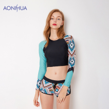 AONIHUA Women Swimwear Floral Bandage Bikini Set Long Sleeve TopWaterproof Swimsuit Sport Bodysuit