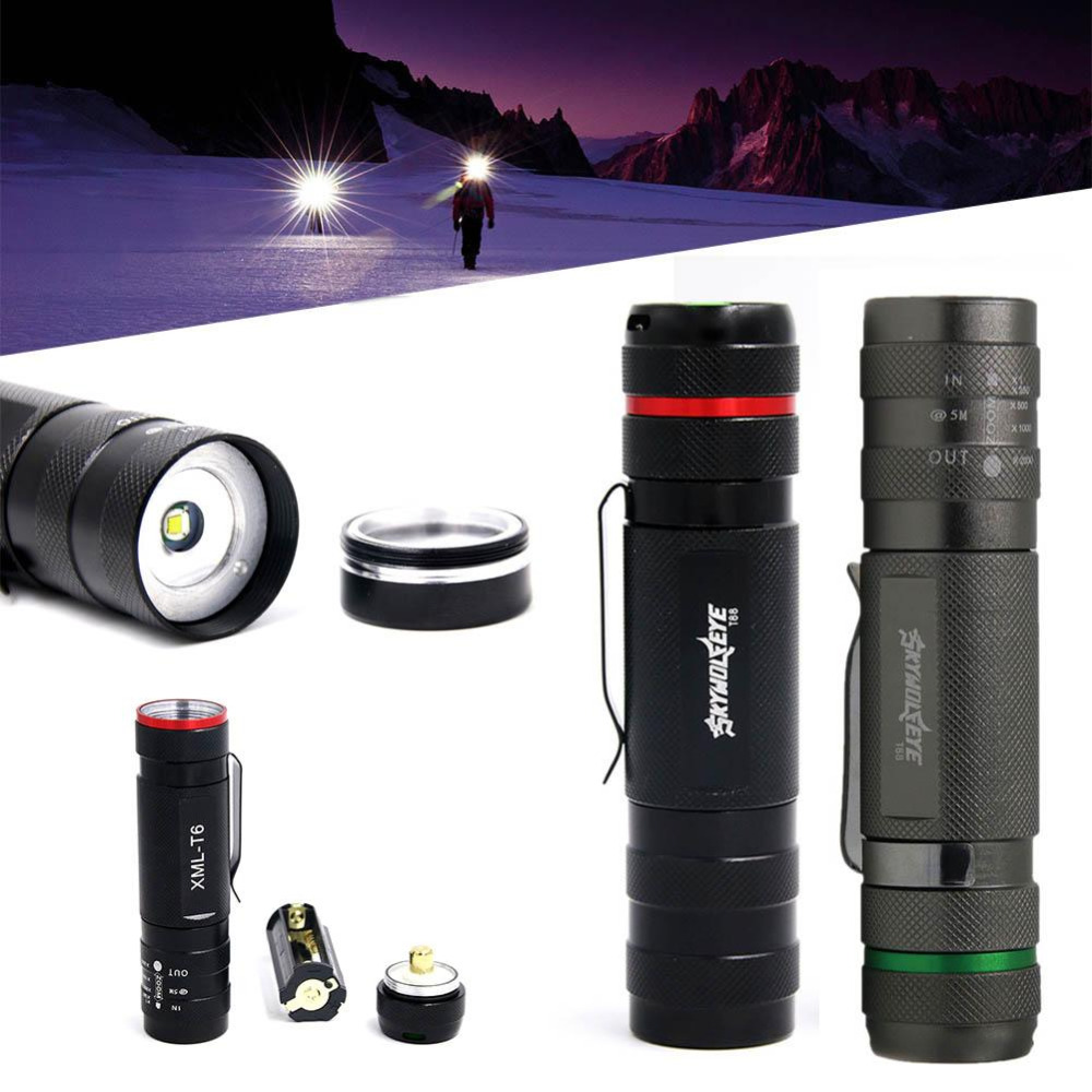 SKYWOLFEYE 1x Draagbare Zoomable 2500LM T6 LED Tactische Zaklamp - Draagbare verlichting