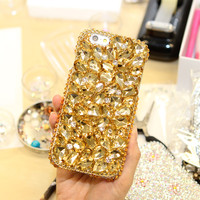 New Woman Gold Handmade Rhinestone Diamond Phone Cover Case For Samsung Galaxy S6 S7 S8 Edge