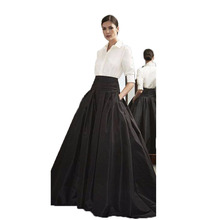 2017 Formal Long Skirt for Office Ladies Black Satin Ball Gown Women Long Skirt with Pocket Customized Elegant Party Skirts