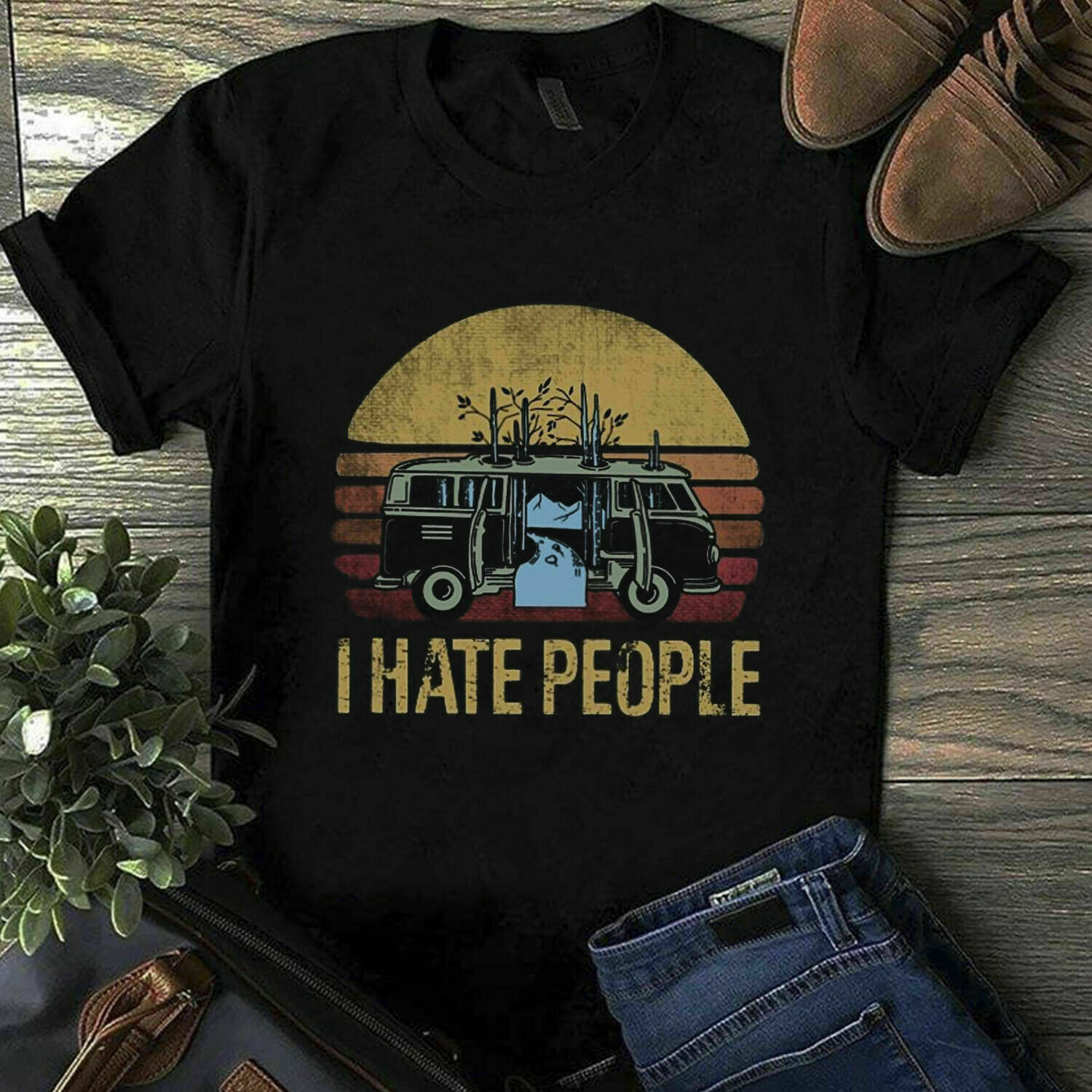 Go Camping I Hate People Black T <font><b>Shirt</b></font> M <font><b>6</b></font> <font><b>Xl</b></font> image