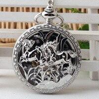 Luxury Horse Carved Pendant Antique Magic Roman Half Hunter Silver Hollow Skeleton Hand Winding Mechanical Pocket