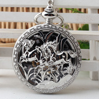 Luxury Horse Carved Pendant Antique Magic Roman Half Hunter Silver Hollow Skeleton Hand Winding Mechanical Pocket