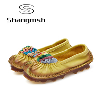 Shangmsh Ballet Cut Out Women Genuine Leather Shoes Woman Flat Flexible Round Toe Nurse Casual Fashion